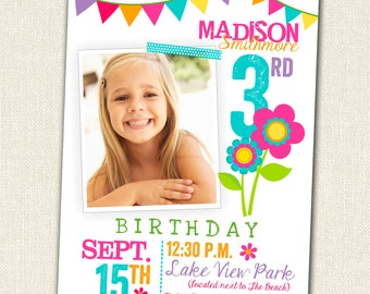 Girl Birthday Invitation - Floral Mod Photo