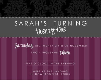 Adult Birthday Invite - Elegant
