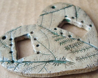 FERN Heart Pottery for Tenerife Teneriffe Necklace or Hanging  Weaving Window, rectangular loom style