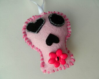 Pink Felt Sugar Skull Halloween Day of the Dead Ornament Decoration
