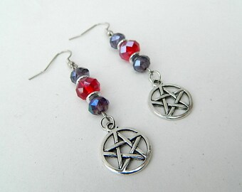 Purple and Red Beaded Pentacle Dangle Earrings: Protection and Power