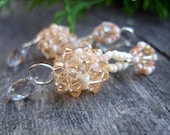 Swarovski crystallized dangle elegant earrings glass beads sparkling bead woven pale pastel peach medium wedding jewelry