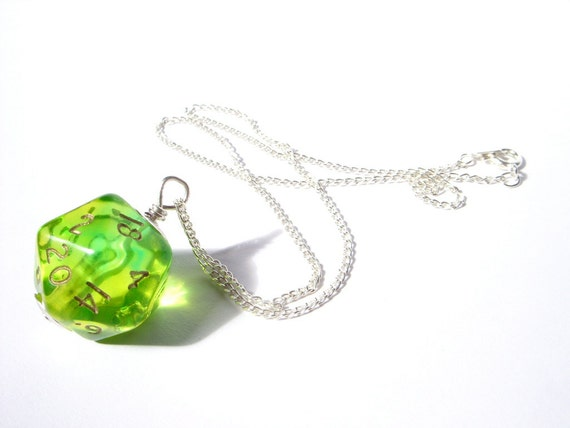 D20 dice pendant neon green yellow lime transparent geek gamer DnD role playing RPG dice jewelry dice necklace translucent