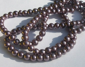Glass pearl beads, round beads with pearl finish -- BROWN  -- Available in 4mm, 6mm, 8mm and 10mm