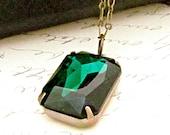 Emerald Green Necklace, Emerald Pendant, Rhinestone Necklace, Vintage Style, May Birthstone - Evergreen