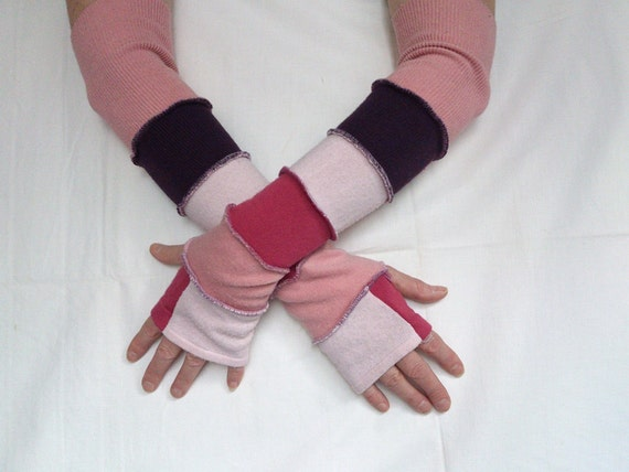 Gloves Mittens Fingerless Pale Pink Violet Raspberry Recycled Clothing  Winter Fashion