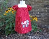 Bama crimson and white polka dot appliqued peasant dress, 2T 3T 4T