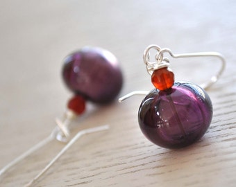 Simply Purple Hollow Glass Earrings