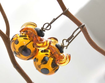 Ruffled Amber Leopard Glass Earrings
