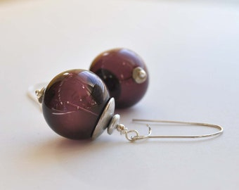 Round Plum Hollow Glass Earrings, Light Weight, Purple, Long Dangle