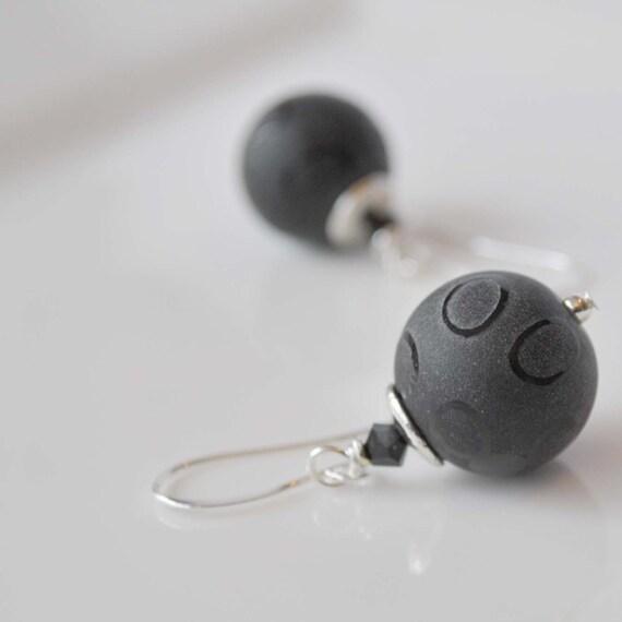 Matte Black Glass Earrings