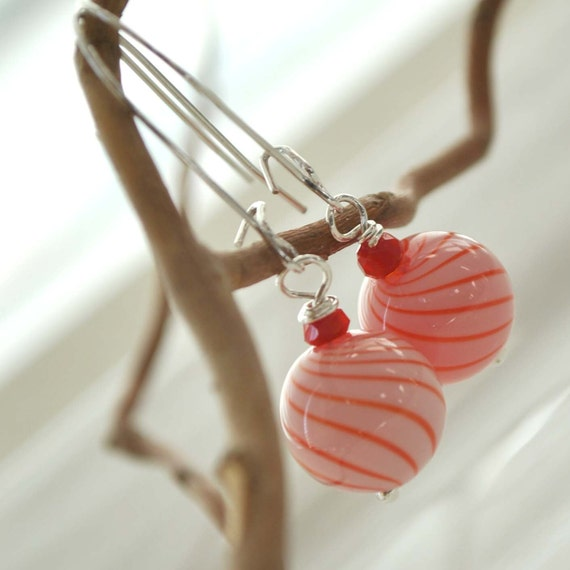 Christmas Jewelry, Candy Cane, Long  Dangle, Red and WhiteSspiraling Earrings