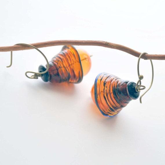 Ribbed Amber Glass Earrings