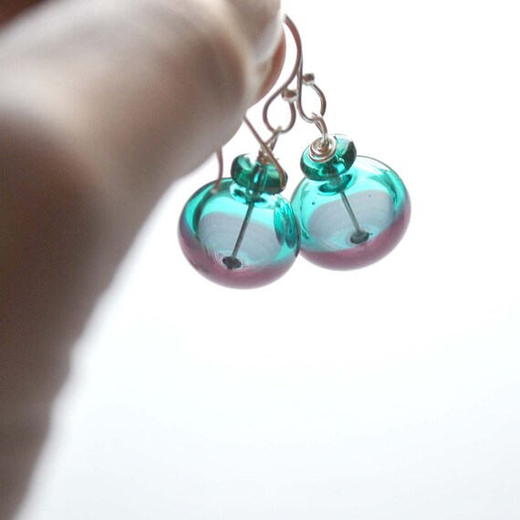 Half 'n Half Teal Purple Glass Earrings