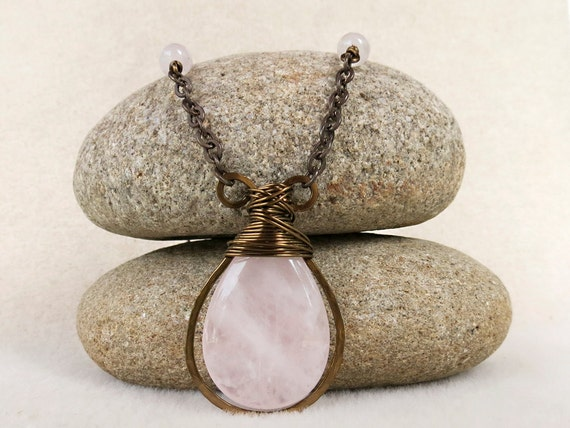 Rose Quartz Necklace in Pale Pink Love Stones and Vintaj Brass, Handmade Jewelry by CreativeGypsy on Etsy