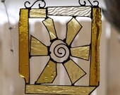 Wire Swirl and Golden Stained Glass Framed Flower