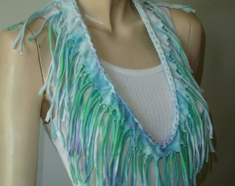 womens shredded braided fringed upcycled recycled tshirt necklace , jersey necklace. blue aqua tiedye