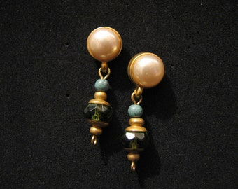Vintage Gold Tone and White Faux Pearl Dangle Turquoise Green Beaded Pierced Earrings