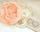 Bridal Sash - Wedding Sash in Peach, Nude, Champagne and Ivory Vintage Inspired with Lace, Chiffon Pearls- Pearl Queen - SolBijou