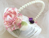 Flower Girl Basket, Wedding, Round, Pink, Ivory, Green, Eggplant, Purple, Pearls, Satin, Silk, Elegant, Vintage