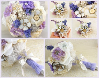 Lilac Brooch Bouquet, Boutonniere, Ivory, Cream, White, Wedding, Bridal, Jeweled, Pearls, Crystals, Enamel Brooches, Elegant,Vintage Style