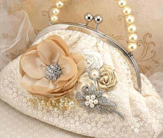 Purse, Lace Purse, Vintage Style,  Ivory, Cream, Tan, Champagne, Handbag, Bag, Elegant Wedding, Mother of the Bride,Brooch, Pearls, Crystals