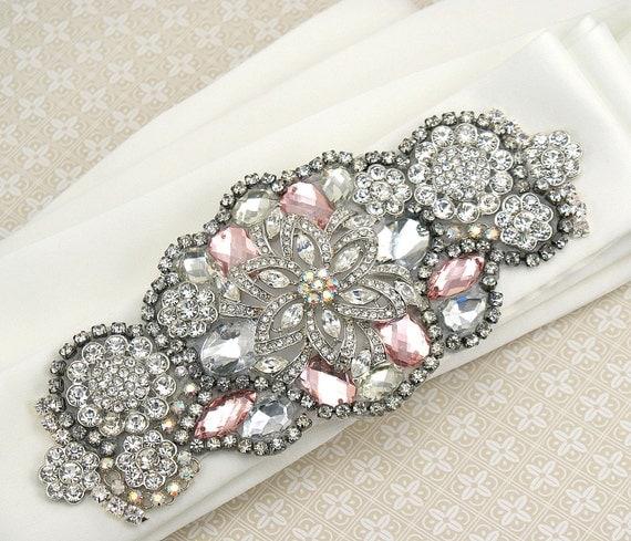 Crystal Sash, Ivory, Pink, Blush, Wedding, Bridal, Jeweled, Satin, Crystals, Elegant, Vintage Wedding, Gatsby Wedding