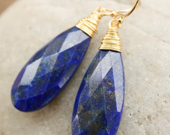 Gold Blue Lapis Earrings - Wire Wrapped Teardrops - Royal Blue and Gold