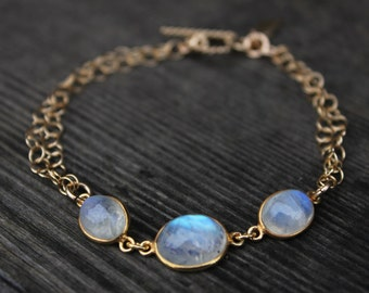 Gold Rainbow Moonstone Bracelet - Gemstone Bracelet - June Birthstone, Toggle Bracelet
