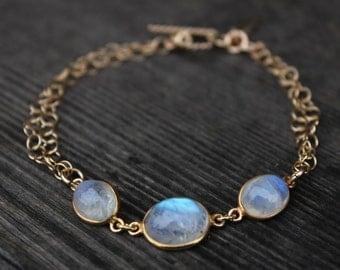 Gold Rainbow Moonstone Bracelet - Gemstone Bracelet - June Birthstone, Toggle Bracelet