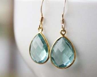 Simple Teal Blue Quartz Teardrop Earrings - Gold Filled - Aqua Blue, Something Blue