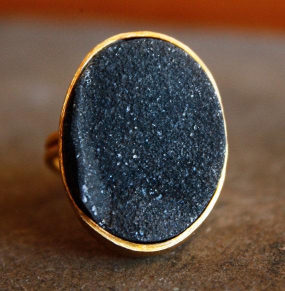 Gold Black Agate Druzy Ring - Statement Ring - Raw, Adjustable Ring
