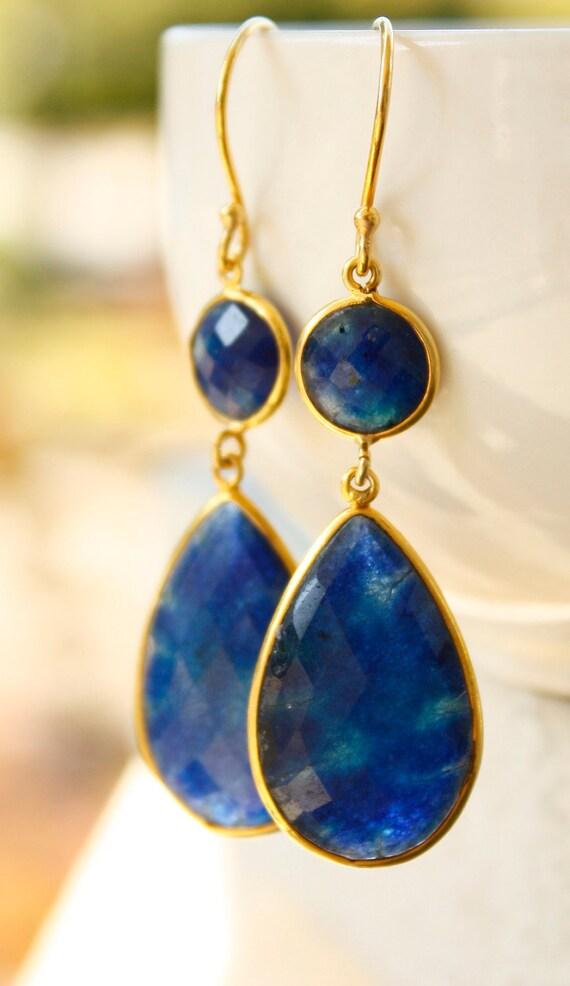 Gold Blue Sapphire Quartz Teardrop Earrings - September Birthstone - Timeless Glamour