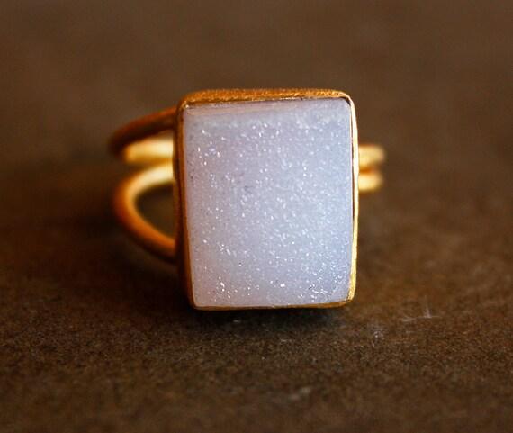Soft Pink Agate Druzy Ring - Rectangular Stone Ring - Adjustable, Gold