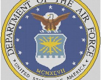 Air Force Logo Cross Stitch Printed Pattern