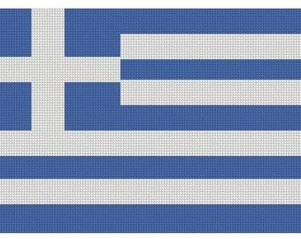 Greek Flag Cross Stitch Printed Pattern