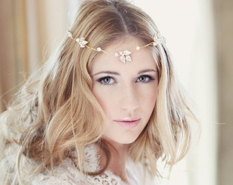 Bridal headdress wedding bridal forehead band browband - Llorelei design