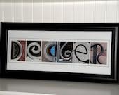 Last Name Art- Alphabet Art- Alphabet Photography Letters- Personalized Alphabet Photo Letter Art 8x20- Color- UNFRAMED Name- Wedding