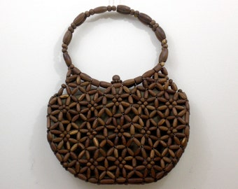 Wood Beaded Purse - Made in Korea - Vintage 1960s 1960s