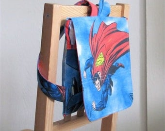 Superman Upcycled Messenger Backpack - Patriotic Super Hero Toddler Bag - Eco Friendly Kids - Girl / Boy Under 40 Gift - Action Flying Fun
