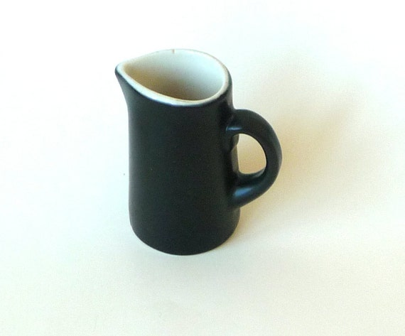 EBONY - 1950s -  Creamer - Pitcher - Mini - Ceramic - 4 ounce - Vase - Retro - Country Kitchen - Gift - Modern Style - Recycled