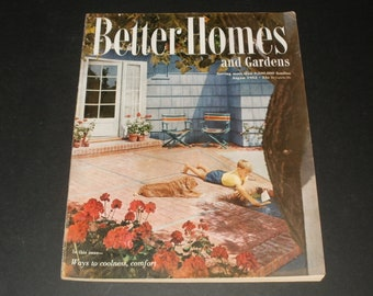 Vintage Better Homes and Gardens Magazine August 1952 - Really Nice Shape, Collectible, Vintage Ads, Scrapbooking Retro 1950s