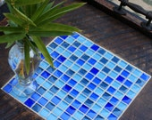 Ottoman Tray, Mosaic Tile, Reclaimed Wood, Rustic Contemporary, Blue Medely, Dark Brown Finish, 24 x 24 - Handmade