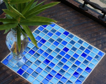 "Ottoman Tray.  Tile Tray.  Blue Mosaic Serving Tray.  Large Serving Tray. ""Blue Medley"" Mosaic. 24 x 24.  Dark Brown Finish"