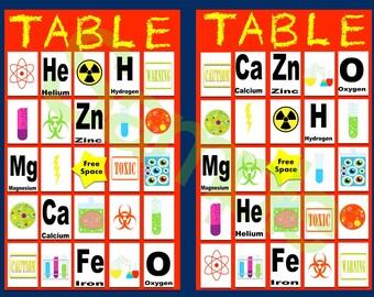 Boy Scientist Bingo Card set 10 card set w/key