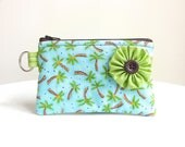 Palm Tree Flower Zippered Bag / Coin Purse / ID Case / Gadget Pouch with Split Ring - Ready to Ship