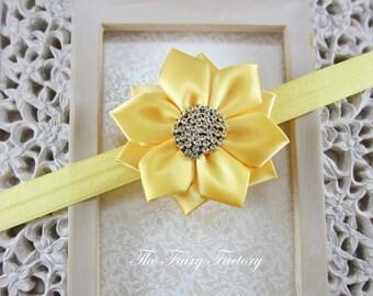Yellow Flower Headband, Satin Flower with Rhinestones Headband or Hair Clip, The Caroline, Baby Toddler Child Girls Headband