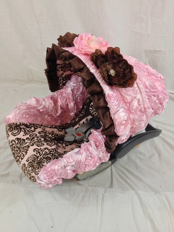 items similar to damask pink and brown infant car seat. Black Bedroom Furniture Sets. Home Design Ideas