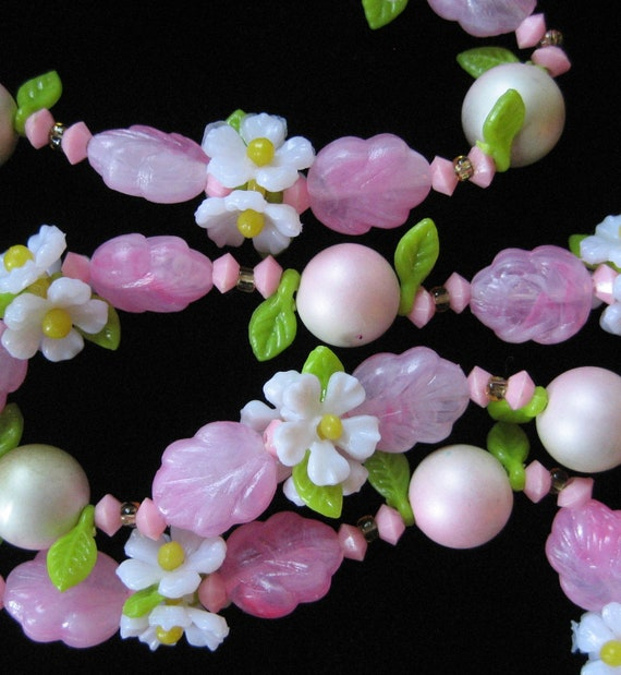 Pink and Green Plastic Flower Necklace, 1960's