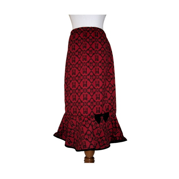 Burgundy Mermaid Skirt with Cute Accent Bow Size Medium to Large or Large to X-Large